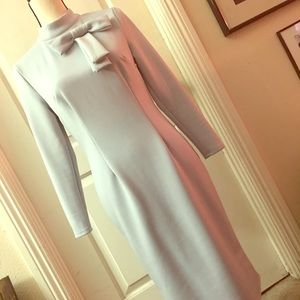 Gray Ladies Pussy Bow Sheath Dress With Sleeves